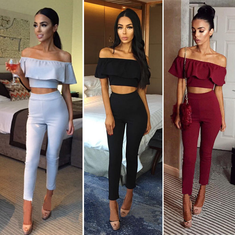 Womens Ladies Fashion Solid Color Sexy Off Shoulder Ruffle Casual 2PCS Jumpsuit Rompers Tracksuit Playsuit Sports Wear Beachwear