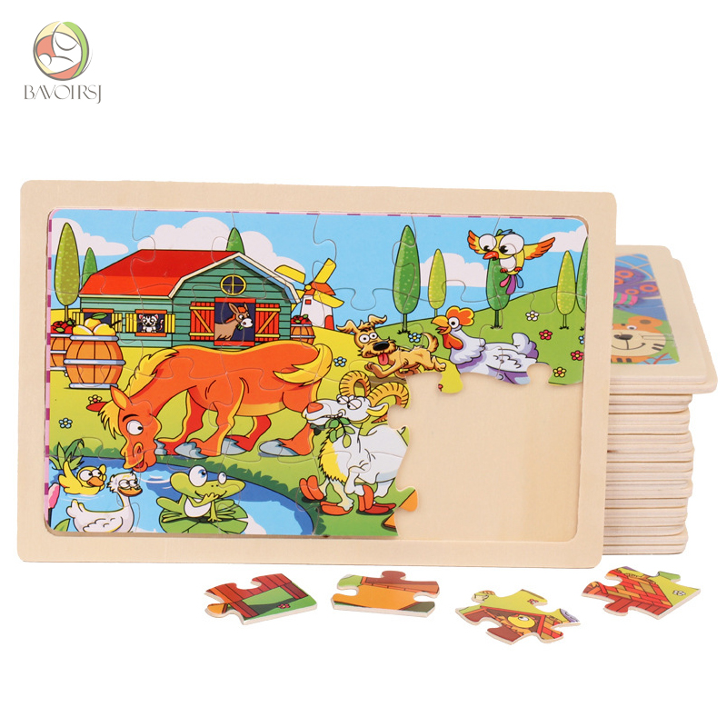 Bavoirsj Wood Crafts Early Education 0-12 Months Kids Puzzles Baby Toy Montessori  Cartton Wooden Toy Paper Puzzles Baby Toys