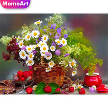 MomoArt Paninting Of Cross Stitch Basket Flowers Diamond Embroidery Needlework Square Full Mosaic Painting Wall Decor