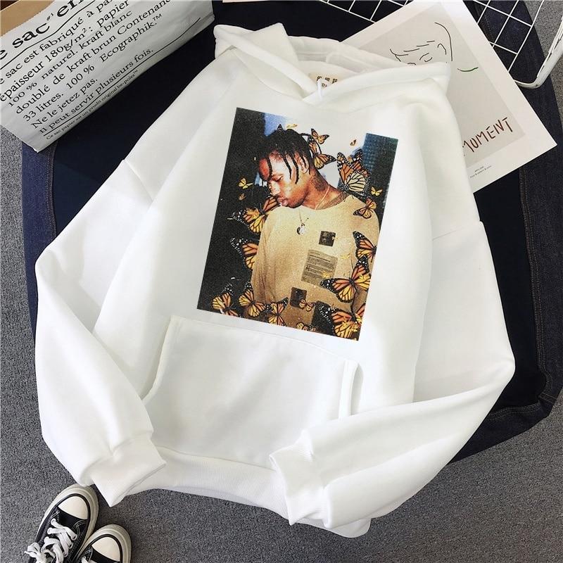 2019 Travis Scott Butterfly Hoodies Winter Women Face Material Top Casual Cotton Sweatshirt Women'S Sudadera Mujer 2019
