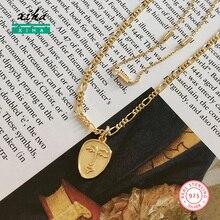 Collar de cara abstracta Vintage de oro para mujeres múltiples capas Figaro cadena gargantilla Pnedants collares delicada declaración joyería 2020