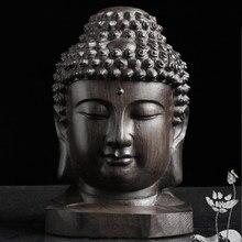 Escultura cabeça de buda desktop artesanal presente estatueta madeira artesanato decoração para casa estátua mogno sakyamuni tathagata colecionável