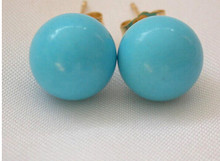 825 +++stunning 12mm round blue natural turquoise beads earrings(China)