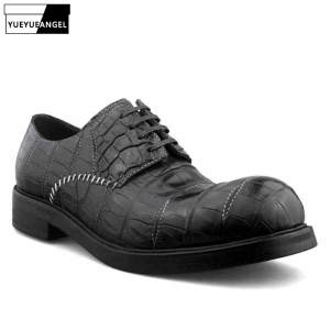 Shoes Men Toe-Dress Italian Crocodile Leather Formal Designer Business Round Handmade