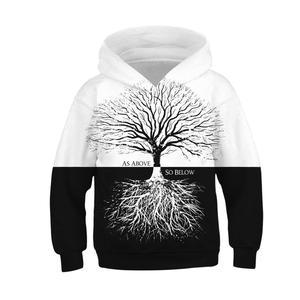Image 5 - Czarny biały las 3D bluzy z nadrukiem dla nastoletnie dziewczyny chłopcy bluza z kapturem dla dzieci bluza z kapturem jesień zimowa odzież dziecięca sweter