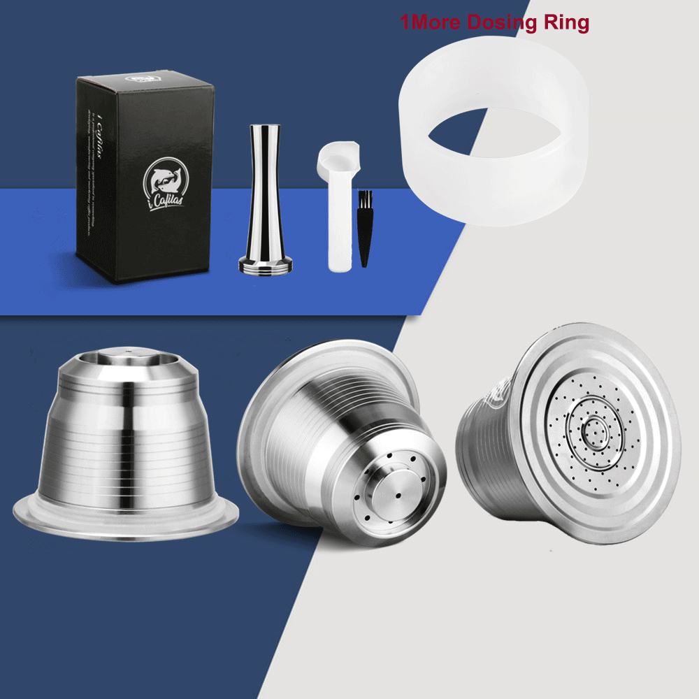ICafilas For Nespresso Refillable Coffee Capsule Pod Stainless Steel Espresso Coffee Filters And Tamper Wholesale