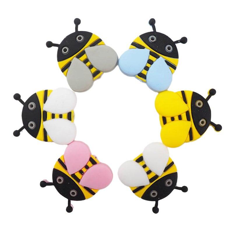 Ченкэй 10 шт. силиконовых кейсов пчелы бусины детская, Жевательная подвеска уход сенсорными прорезывания зубов соски-пустышки