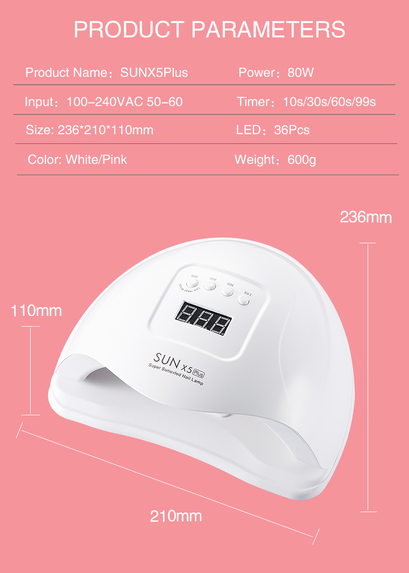 UV Lamp Nail 48W Nail Dryer SUN ONE Gel Polish Machine Curing Lamp with Bottom 30/60s Timer Display Quick Drying Led Lamp Nail
