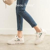 BeauToday Blanc Baskets Femmes Véritable Vache En Cuir Bout Rond à lacets Fermeture Dames décontracté chaussures plates Faites À La Main 29542