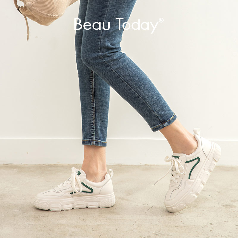 BeauToday  White Sneakers  Women Genuine Cow Leather Round Toe Lace-Up Closure Ladies Casual Flats Shoes Handmade 29542