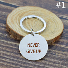Inspirational Quote Keychain  Never Give Up Letters Engraved Metal Friendship