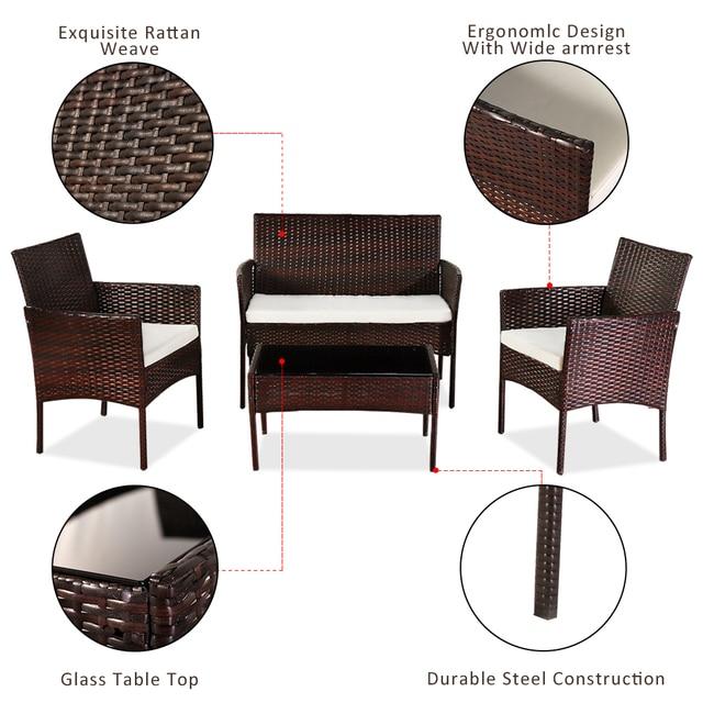 4 Pcs Outdoor Sofa  Porch Bistro Sets  5