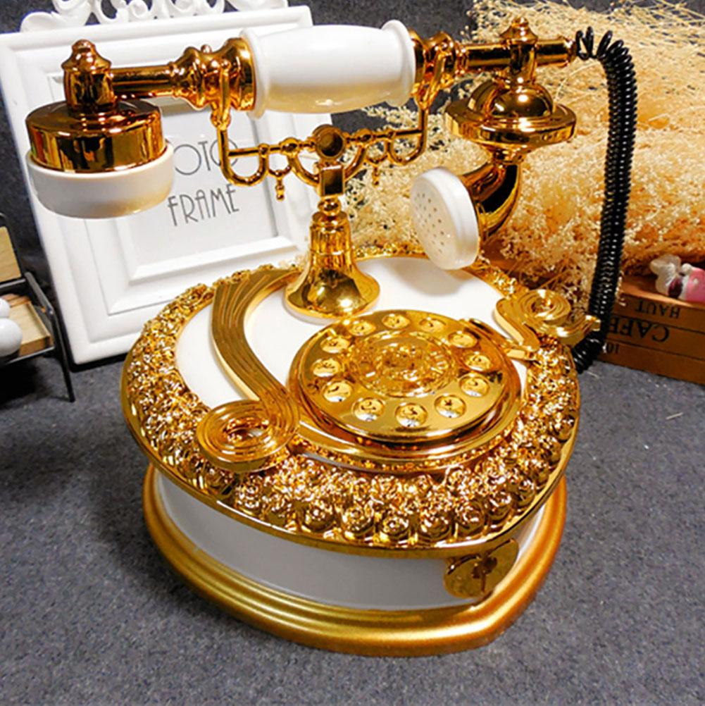 Vintage Dial Telephone Clockwise Spring Music Box Ornament Kids Birthday Gift Exquisite Workmanship Vintage Telephone Design