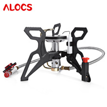 ALOCS 3000W Ultralight Gas Stove Outdoor Portable Propane Burner Split Powerful for Camping Hiking Cookware Picnic Furnace fire maple outdoor camping utensil picnic titanium ultralight portable split gas stove furnace 98g