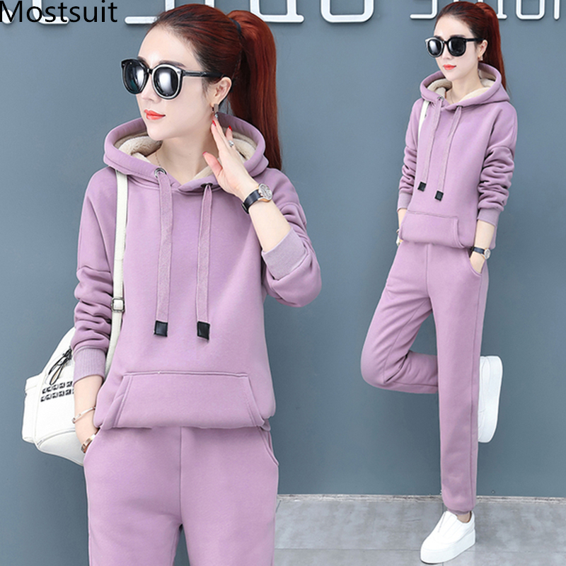 2019 Winter Thicken Sport Two Piece Sets Outfits Women Plus Size Hooded Sweatshirts And Pants Suits Casual Fashion Tracksuits 49