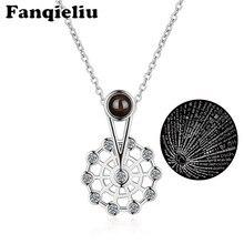 Fanqieliu srebrny kolor kryształu naszyjnik diabelski młyn wisiorek dla kobiet w stylu Vintage 100 sto języków kocham cię naszyjniki FQL20372