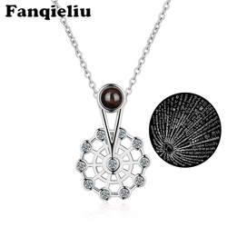 Fanqieliu Silver Color Crystal Necklace Ferris Wheel Pendant For Women Vintage 100 Hundred Languages Love You Necklaces FQL20372