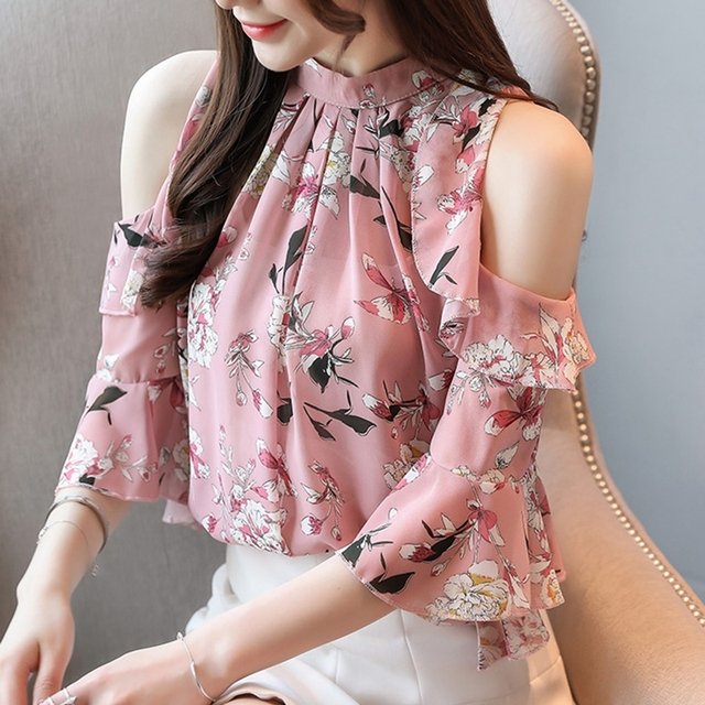 Korean Blouse Women Clothing Shirt Ladies Tops Floral Chiffon Ruffles Stand Butterfly Sleeve Blusas Hollow Female Tops Plus Szie 1