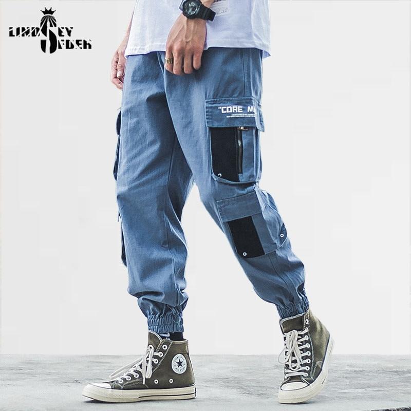 Men's Longpants Casual Corduroy Elastic Leg Opening Patch Print Track Pants Men  HipHop Streetwear Harajuku Pant Trousers