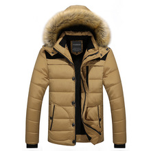Mens Winter Cotton-padded Jacket Coat Hooded Casual Cotton Velvet Padded Parkas Down Suit