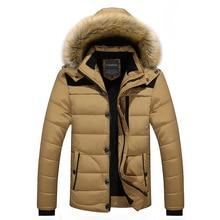 Men's Winter Cotton-padded Jacket Coat Hooded Casual Cotton Velvet Padded Men's Parkas Men's Winter Hooded Coat Down Cotton Suit zippered pocket hooded padded coat
