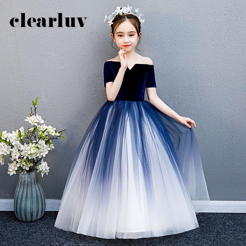 Girls Princess Dresses B057 Dark Blue Gradient Tulle Flower Girl Dresses For Weddings Off The Shoulder Boat Neck Communion Gowns