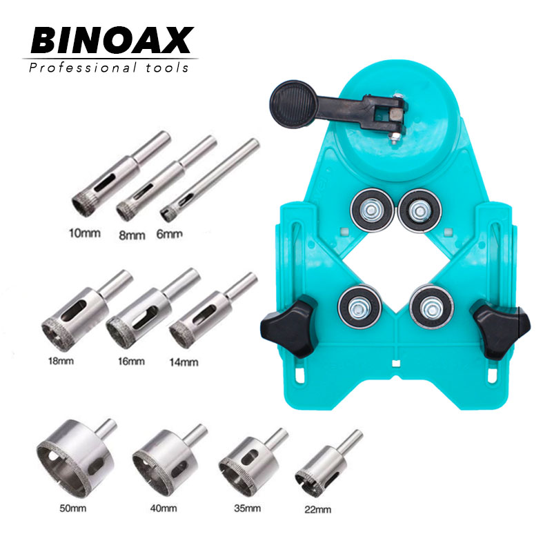 BINOAX 11Pcs Drill Guide Vacuum Base Sucker With 6-50mm Diamond Coated Glass Drill Bit Fit Tile Glass Hole Saw Openings Locator