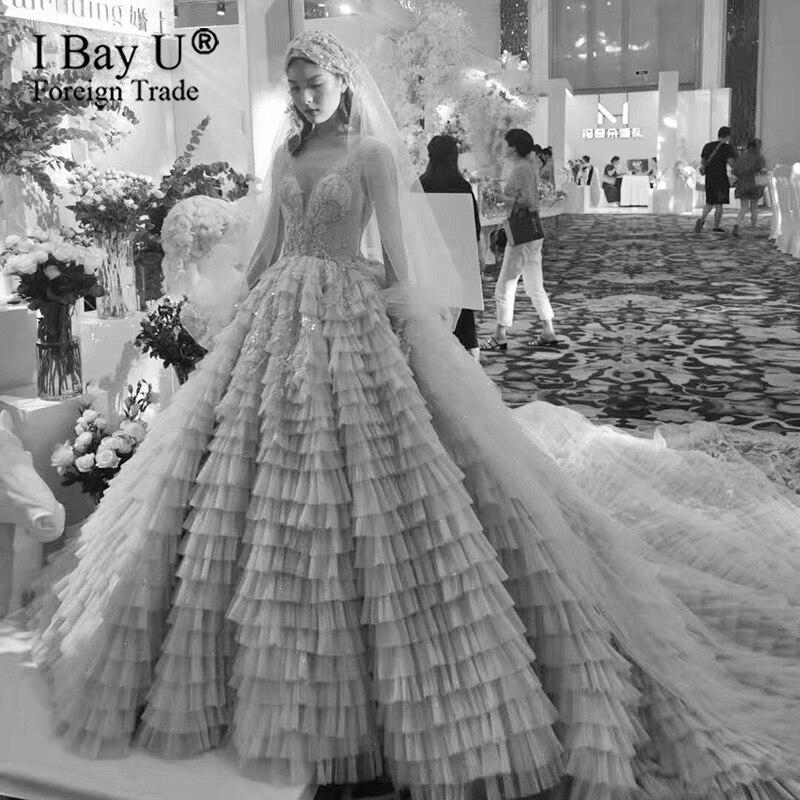 Beige Handmade Beading Pleating Princess Wedding Dress 2020 Dubai V Neck Vintage Bridal Gowns Custom Made