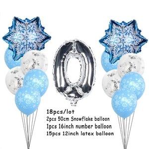 Image 5 - Christmas Snowflake Latex Balloons Baby Shower Decor Number Balloon Girl Kids Birthday Party Air Globos Xmas Snow Party Supplies