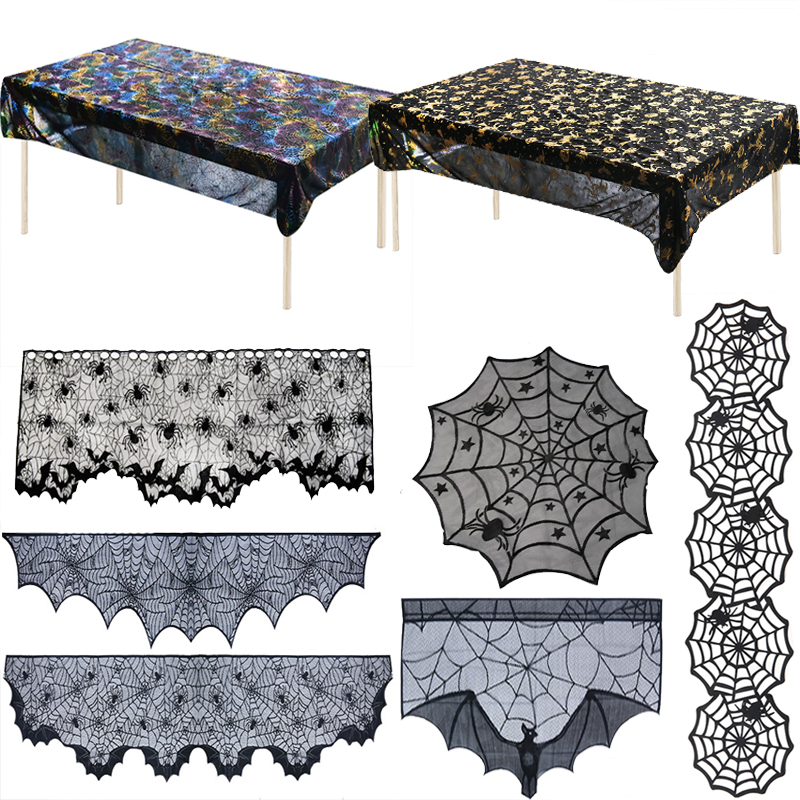 Halloween Decoration Props Black Lace Spider web Tablecloth Table flag Fireplace Mantle Halloween Party Decor home Table Runner