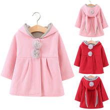 Rabbit ears Coat For Girls Wool 80%Cotton Long Sleeve Autumn Winter Hooded Girl 0-6 Years 2019 New Clothes D30