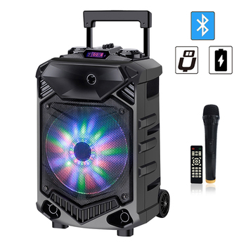 Shinco Portable Bluetooth Karaoke DJ Speaker System High Power 12-inch Woofer Trolley Speaker with Wireless Microphone 1