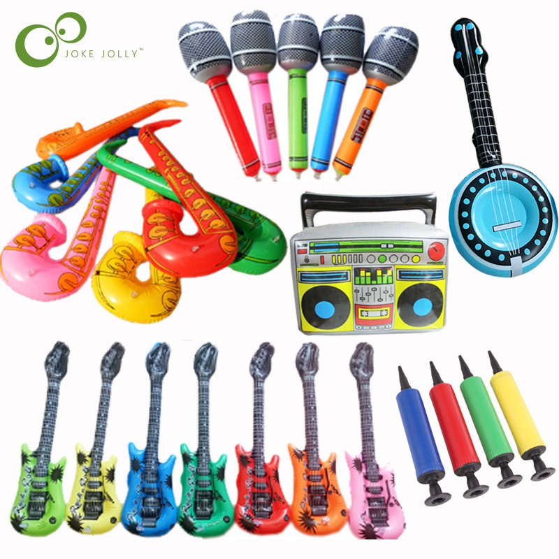 PVC INFLATABLE GUITAR MICROPHONE LUTE MUSICAL INSTRUMENT KIDS TOY PARTY PROP KIT