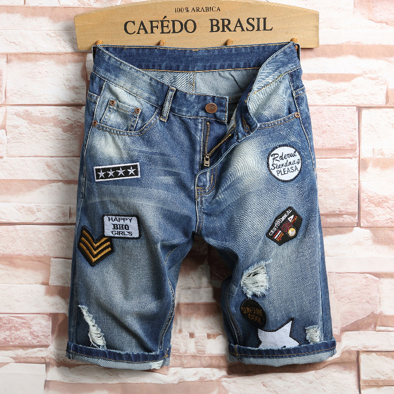 2018 Summer New Style MEN'S Denim Shorts Men With Holes Cool Trend Knee-length Denim Shorts Foreign Trade Badge Men's Trousers