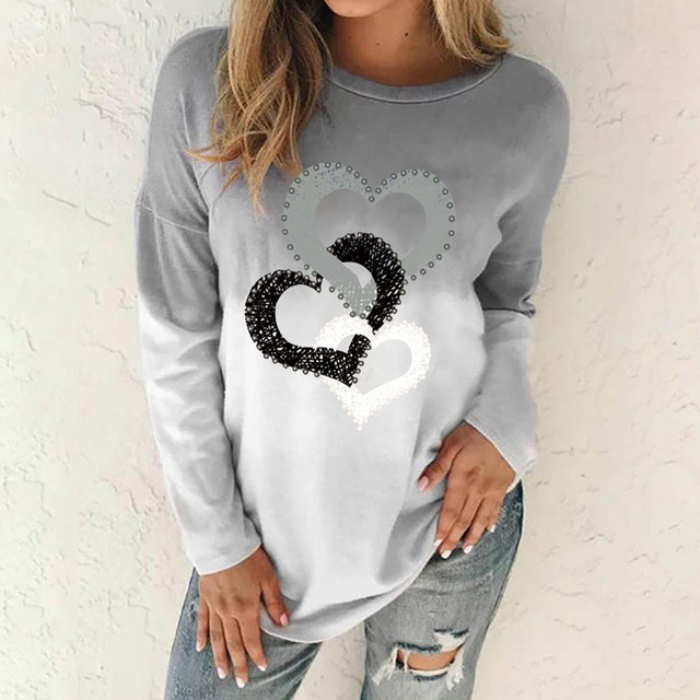 Gradient Heart Print T Shirt Women Long Sleeve O-neck Pullover Tops Ladies T-shirt