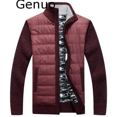 Genuo Winter Men's Sweater Fashion Turtleneck Stand Collar Sweater Jackets Men Slim Fit Thick Warm Knitted Pullovers Clothing