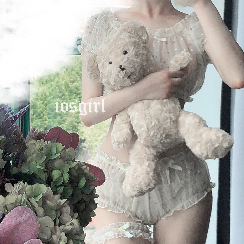 Cute Off-Shoulder Tops Lolita Ruffle Underwear Panties Sexy Pajamas Female Chiffon Lingerie Set Nightwear Costume Lenceria