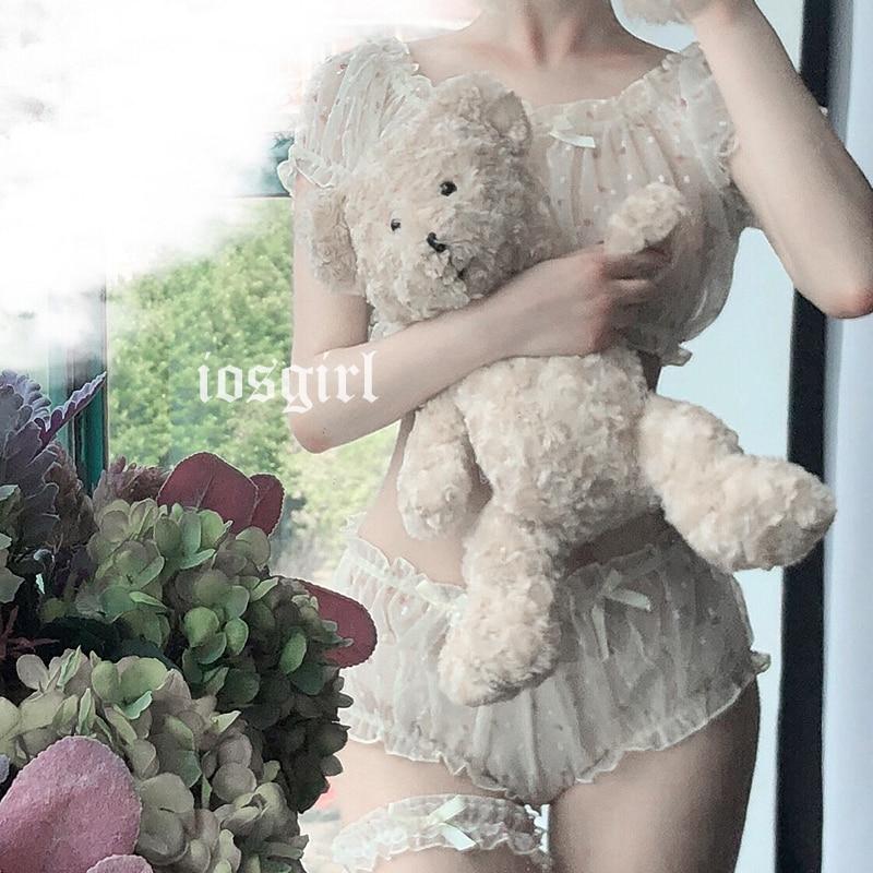 Cute Off-Shoulder Tops Lolita Ruffle Underwear Panties Sexy Pajamas Female Chiffon Lingerie Set Nightwear Costume Lenceria