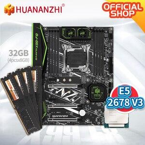 Image 1 - HUANANZHI X99 F8 X99 האם עם Intel XEON E5 2678 v3 עם 4*8G DDR4 שאינו ECC זיכרון משולבת ערכת סט NVME SATA 3.0 USB 3.0