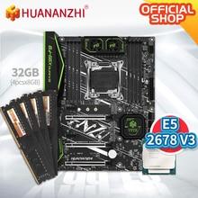 HUANANZHI X99 F8 X99 Motherboard mit Intel XEON E5 2678 v3 mit 4*8G DDR4 Nicht ECC speicher combo kit set NVME SATA 3,0 USB 3,0