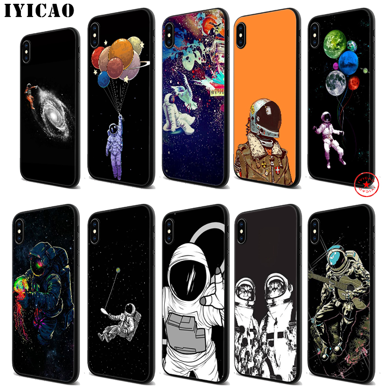 IYICAO Astronaut Space Black Soft Silicone Case for iPhone 11 Pro Xr Xs Max X or 10 8 7 6 6S Plus 5 5S SE