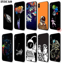 IYICAO Astronaut Space Black Soft Black Silicone Case for iPhone 11 Pro Xr Xs Max X or 10 8 7 6 6S Plus 5 5S SE iyicao riverdale soft black silicone case for iphone 11 pro xr xs max x or 10 8 7 6 6s plus 5 5s se