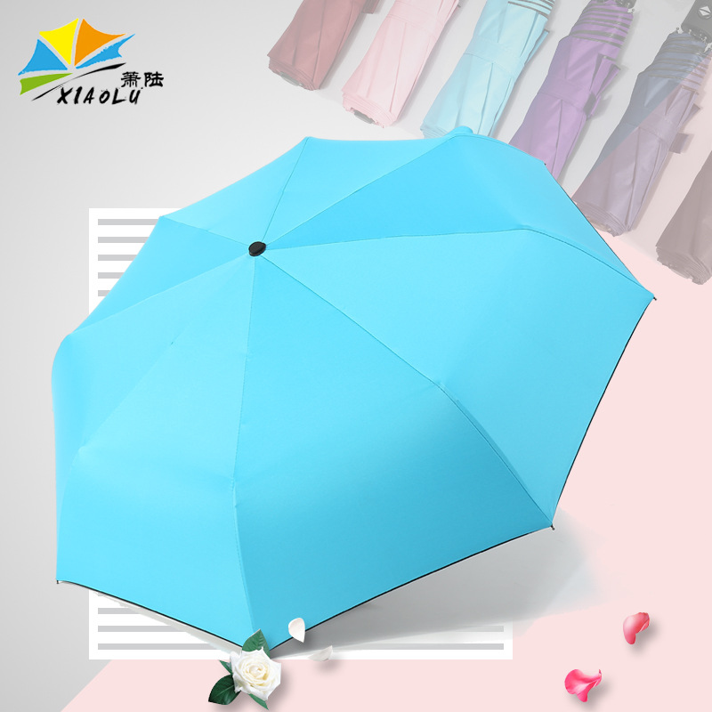 Umbrella Plain Color Vinyl Fully Automatic Sun-resistant Advertising Umbrella Customizable Logo College Style Three Fold Wind-Re