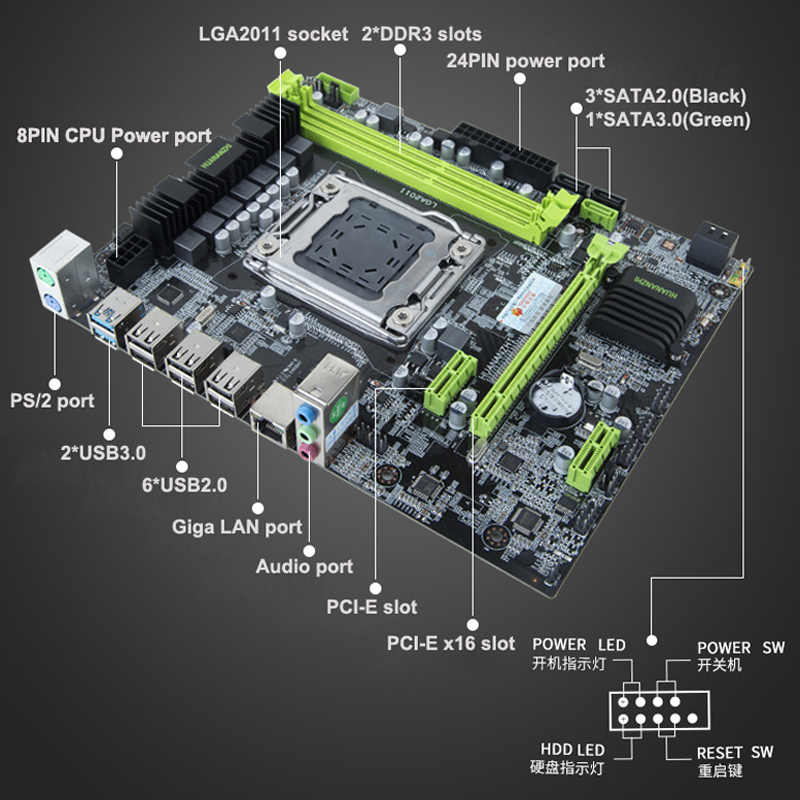 تعزيز HUANANZHI X79 LGA2011 اللوحة وحدة المعالجة المركزية مجموعات المعالج إنتل Xeon E5 2640 SROKR 2.5GHz يتم اختبار جميع قبل الشحن