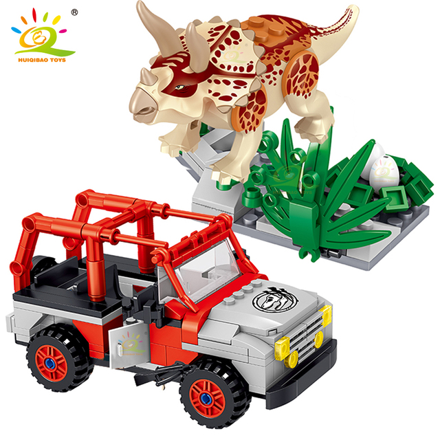 HUIQIBAO 270pcs Jurassic Dinosaur Triceratops World Park Model Building Blocks city Steal eggs Truck figures Bricks children Toy