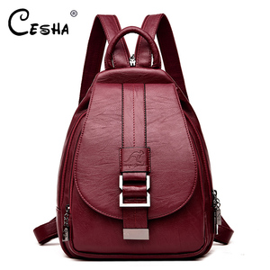 Image 1 - Fashion Casual Soft Leather Women Travel Backpack High Quality Durable Leather Backpack Zipper Straps Design Womens Backpack