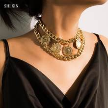 SHIXIN Hip Hop Chunky Necklace for Women Punk Layered Chain Choker Necklaces Vintage Coin Pendant Necklaces Personalized Jewelry(China)