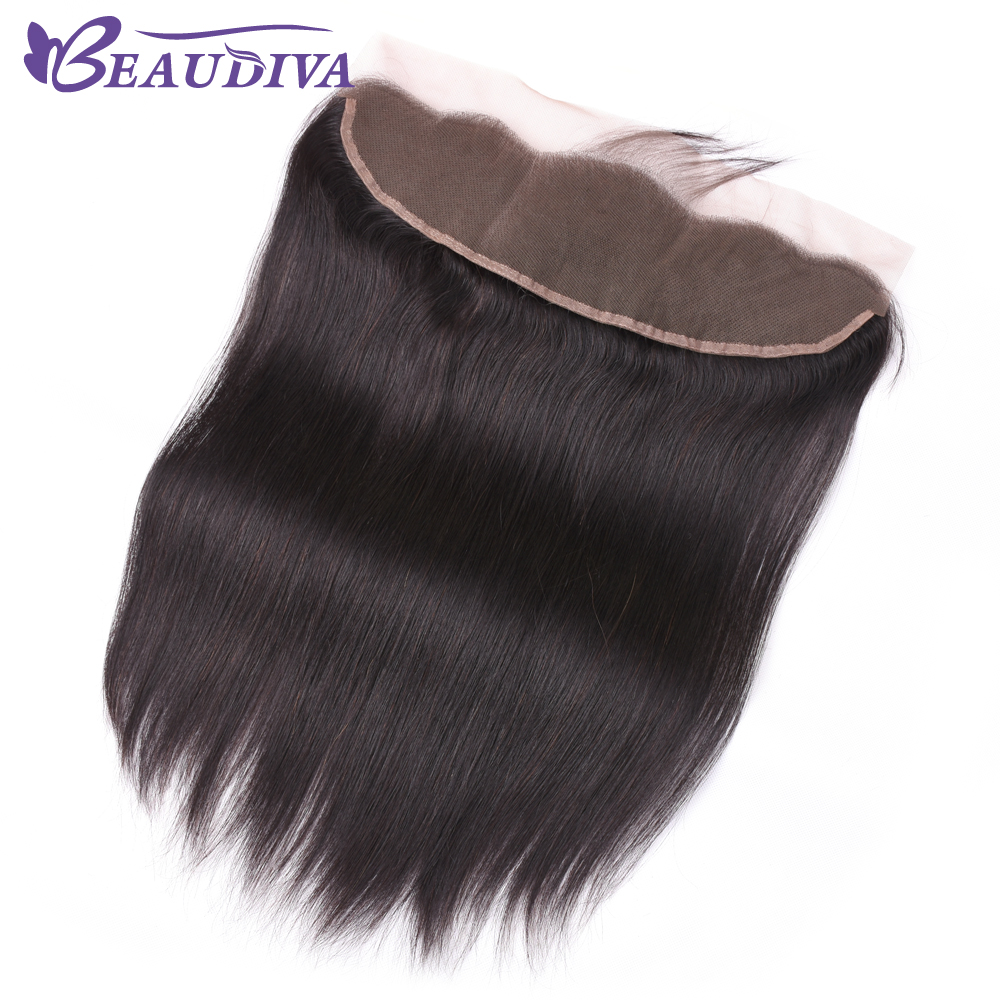 Beaudiva Brazilian 13*4 Lace Frontal Straight Human Hair Free Part 100% Remy Lace Frontal Closure 8-20 Inch Natural Color