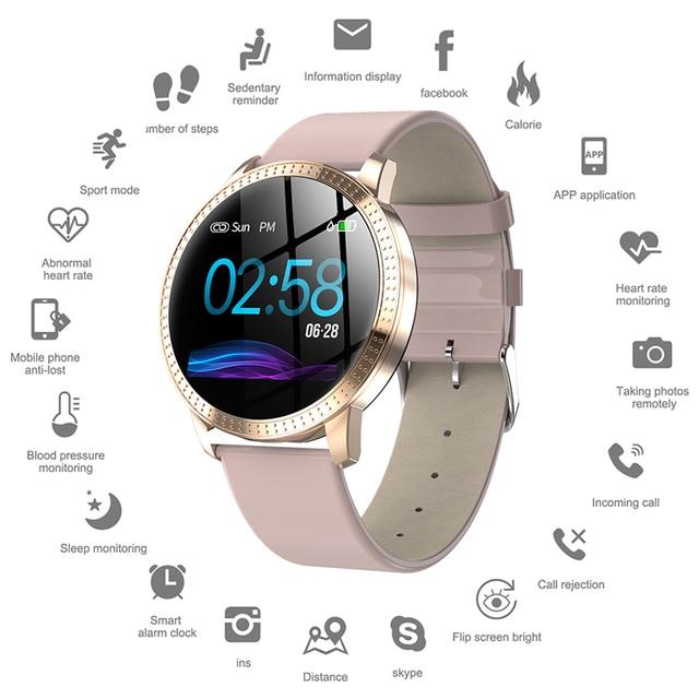 エレガントなスマート腕時計女性 1.22 インチ大画面防水IP67 心拍数血圧トラッカーiphone 7/xiaomi