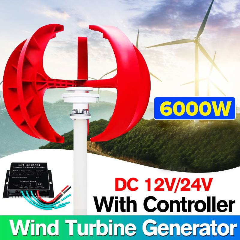 6000W AC 12V 24V Wind Turbines Generator Lantern 4 Blades Motor Kit Vertical Axis+Controller For Outdoor Hybrids Electromagnetic